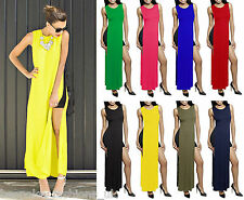Ladies Women's Side Split Sleeveless Long Length Maxi Top T-Shirt Plus Size 8-22