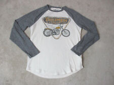 Lucky Brand Triumph Long Sleeve Shirt Adult Small White Gray Motorcycle Biker