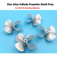 Durable Zinc Alloy 4-Blade Propeller Shaft Prop For DIY RC Bait Boat Model Part