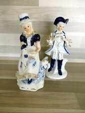 Prachtig paar porceleinen markies en markiezin - wit blauw - porcelain blue whit