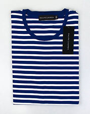 NWT RALPH LAUREN BLACK LABEL Blue/White Striped Cotton T-Shirt Size M $165