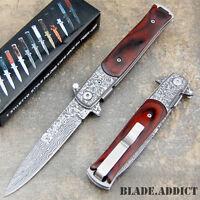 "9"" CLASSIC Damascus Italian Stiletto Spring Assisted Open Pocket Knife Wood EDC"