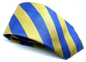 """T.M. Lewin Men's Tie Blue Yellow Striped 100% Silk 3.25"""" Width 62"""" Long"""