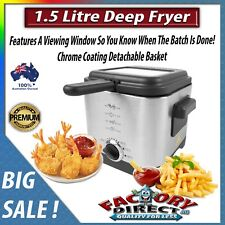 1.5 Litre Stainless Steel Deep Fryer Detachable Lid Basket With Window 900w