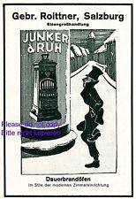 Dauerbrandofen Junker & Ruh Reklame 1929 Ofen Herd Roittner Salzburg Werbung +