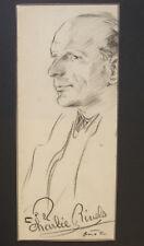 Rare original portrait of Charlie Rivel. Circus clown. Autograph Signed