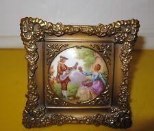 Vintage Limoges Fragonard Lovers Miniature Porcelain Gilt Brass Frame ,Signed