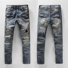New Mens France Style Classic Moto Pants Blue Biker JEANS Trousers B905C Size 32