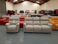 Ex-display La-z-Boy Jacksonville leather manual 3 seater sofa and electric chair