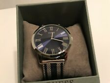Guess Men's Blue & Silver-Tone Stainless Steel Mesh Watch U1179G1 NEW IN BOX!!