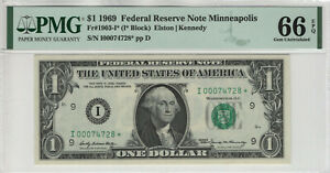 1969 $1 FEDERAL RESERVE STAR NOTE MINNEAPOLIS FR.1903-I* PMG GEM UNC 66 EPQ(728*