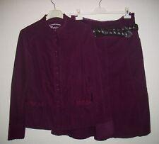 monsoon maroon corduroy skirt suit, skirt with belt size 10, jacket size 12