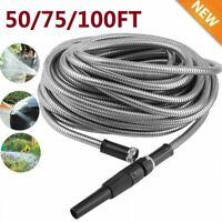 Stainless Steel Garden Watering Hose Car Wash Pipe Garden Supplies Tool 50-100FT