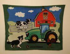 "John Deere Tractor Blanket Wall Hanging Farm Scene 2013 Deere & Company 59""X46"""