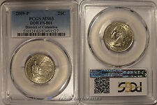 2009 P District of Columbia Quarter 25c DDR FS-801 PCGS MS63 Double Die Variety