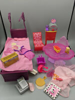 💝 Barbie Bed Dining Room Table Chairs Rocker Boombox, Pizzeria Bike Accessories