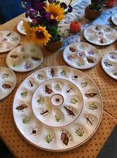 Rare Quimper Oyster Plate Set Large Platter And 10 Matching Plates