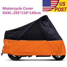 Motorcycle XXXL Orange Outdoor Indoor Cover Storage for Harley Street Glide