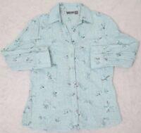 Apt. 9 Dress Shirt Blue Long Sleeve Womens Small Button Front Top Floral Woman