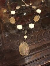 PREMIER DESIGNS SAND DUNE FACETED AND POLISHED STONE BEAD PENDANT NECKLACE
