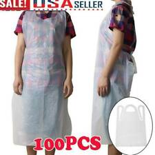 New listing Pack of 100 Disposable Plain White Polythene Strong Plastic Aprons Us Stock