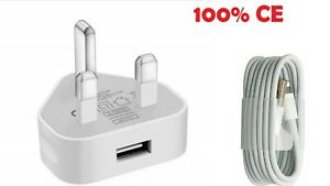 WHITE usb Charger Plug & USB Data Cable compatible with i Phone 7 8 Plus 11 SE
