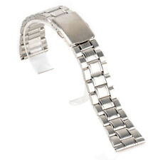 Silver Stainless Steel Buckle Straight End Watch Band Strap 14/16/18/20/22mm