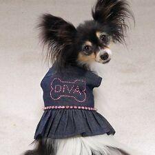 Casual Canine Dog Dress Denim Sundress DIVA Rhinestones XS X-SMALL