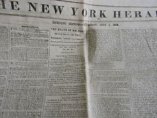 Damaged New York Herald Newspaper July 1 1853 The Death of Henry Clay