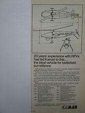 9/1974 PUB KAMAN AEROSPACE RPV REMOTELY PILOTED VEHICLE ARMY DRONE ORIGINAL AD