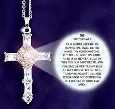 The Lord's Prayer Cross, 18 in Silver Sparling Crystal Necklace