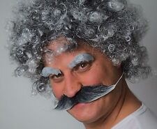 MEN'S GREY CURLY FANCY DRESS WIG + LARGE MOUSTACHE + EYEBROWS (SELF ADHESIVE)
