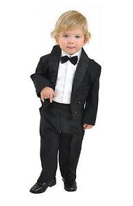 Anzug 5 teilig Kinderanzug Baby Jungen Frack Taufe Kommunion schwarz Gr 80 - 104