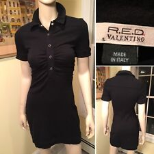 R.E.D. by VALENTINO Black Stretch Short-Sleeve Shift Dress Size 4/6 Small EUR 40