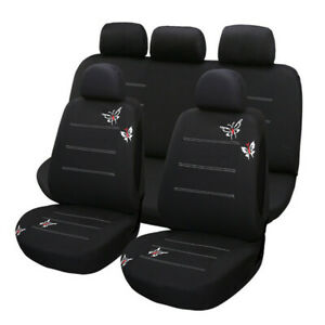 9pcs Black Car Seat Covers Wear-Resistant Washable Fit for Most 5-Seat Cars