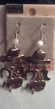NEW MOTHER OF PEARL GOLD COWBOY HAT HORSESHOE BOOT DANGLE EARRINGS