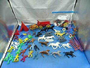 Vintage Mixed Lot Of Plastic Cowboys & Indians Horses Toys  & More