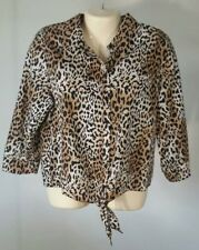 Chico's Women's Shirt Size 1 Cheetah Print Button Front Tie Front 3/4 Sleeve E