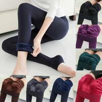 Women Casual Warm Winter Velvet Knitted Thick Slim Cashmere Elastic Leggings US