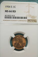 1954-S NGC MS66 RED Lincoln Wheat Cent!! #A9277