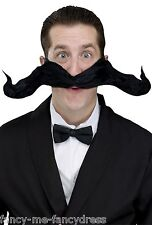 "Black Fake False Extra Large 20"" Bendy Fancy Dress Photobooth Moustache Prop"
