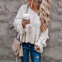 Pretty Womens Off Shoulder Sweater Casual Knitted Loose Long Sleeve Pullover AU