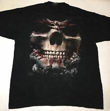 The Mountain Skulbone Skull Face Large Black Tie Die Cotton T-Shirt Adult 3XL
