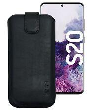 Suncase Leder Hülle Tasche Etui in Schwarz + Silikon Case für Samsung Galaxy S20
