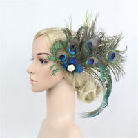 Headpiece Peacock Feather Pearl Hair Clip Bridal Wedding Party Flapper
