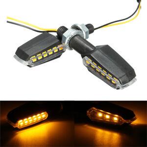 Pair Yellow Light Turn Signal Indicator Light Turning Lamp 12V 9 LEDs Motorcycle