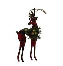 Gisela Graham Hanging Tartan Reindeer Christmas Tree Decoration