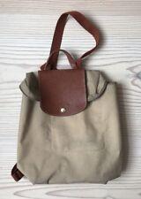 Longchamp original Damen RUCKSACK Backpack Tasche Beutel Paris Leder Braun Beige