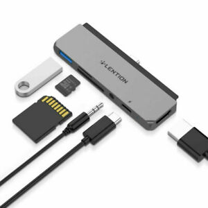 LENTION 6 IN 1 USB-C Hub 3.1 to USB A 3.0 HDMI Aux Adapter SD Card for iPad Pro