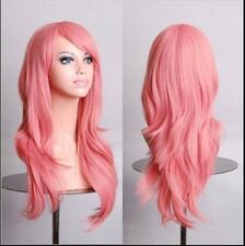 Pink 70cm Women Curly Wavy Hair Wig Fashion Costume Party Anime Cosplay